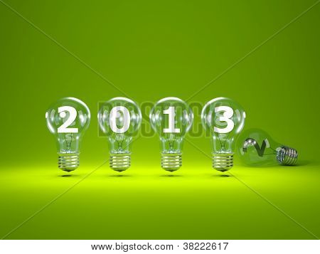 2013 New Year sign inside light bulbs