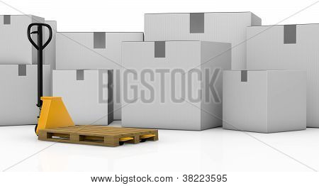 Pallet Truck And Cartons