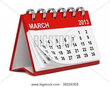Desktop Calendar Against White.