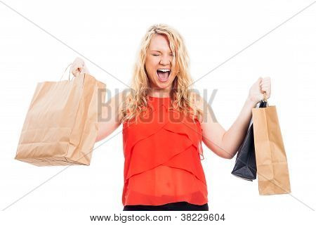 Ecstatic Woman With Shopping Bags