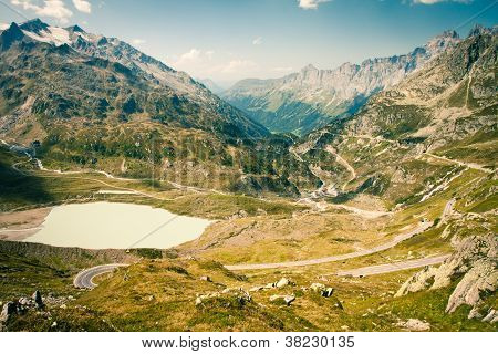 View to Swiss Alps, Sustenpass, Switzerland