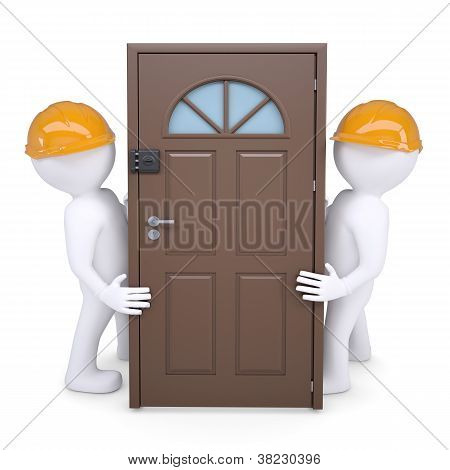 Two 3D Human Hold The Door In Their Helmets