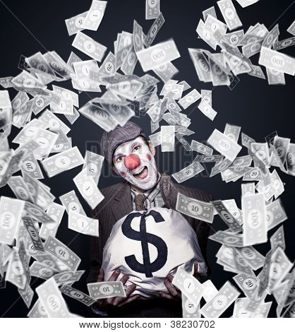 Crazy Clown Excited To Hold A Bag Of Money