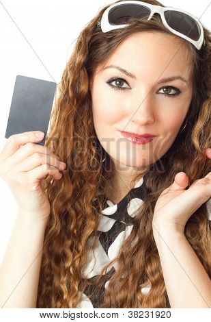 Close-up Portrait Of Young Shopping Woman Holding Credit Card Isolated On White Background