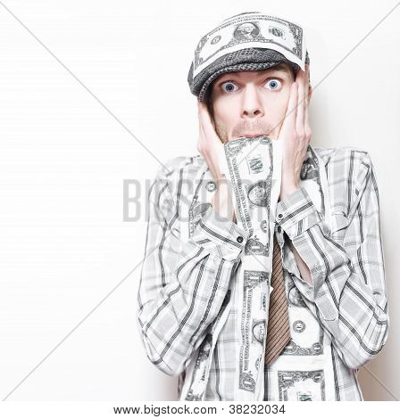 Surprised American Business Man Covered In Money