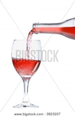 Pouring A Glass Of Refreshing Rose Wine