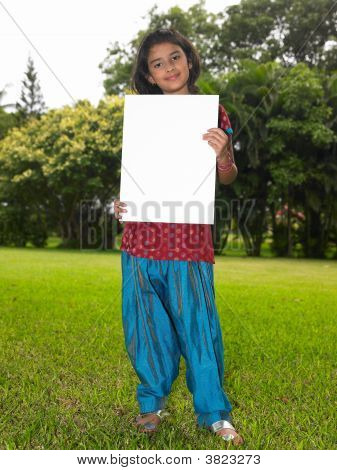 Asian Girl Child With Blank Placard