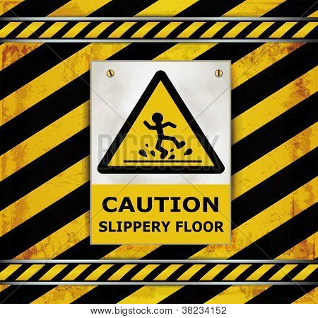 Sign caution blackboard caution slippery floor