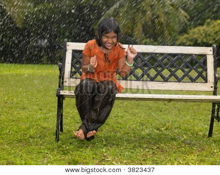 Asian Kid In A Park