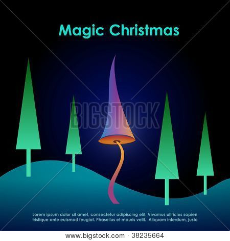 Magic christmas greeting card