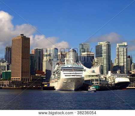 Vancouver Canada Cityscape With Cruise Ships.