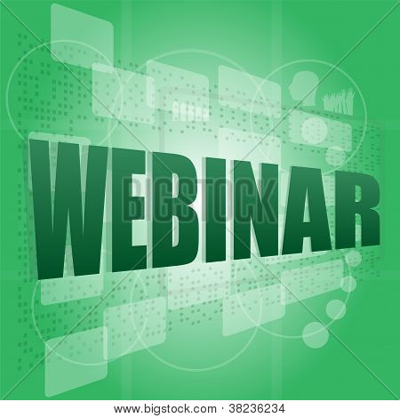 Words Webinar On Digital Screen, Information Technology Concept