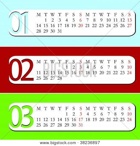 2013 Calendar - January, February, March
