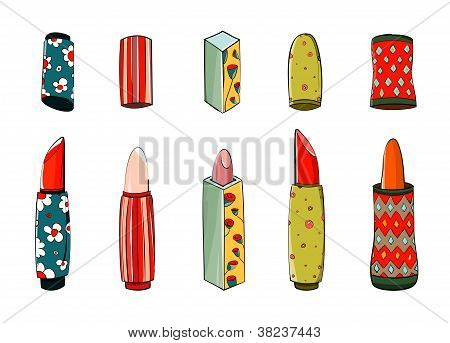 Lipstick Set Colorful Drawing