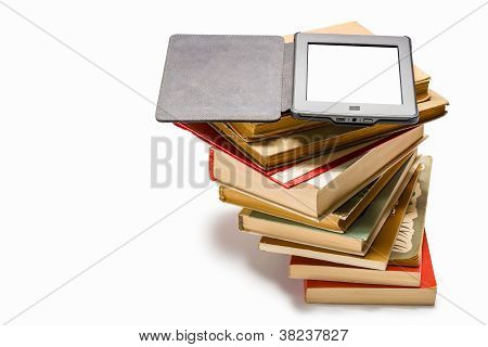 Ebook on pile of old books