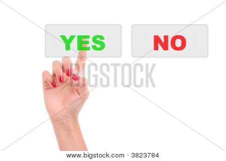 Woman\'S Finger Pressing The Yes Key
