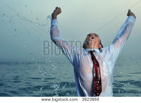 Businessman Splashing