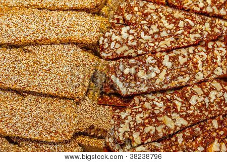 sweets with nuts and sesame