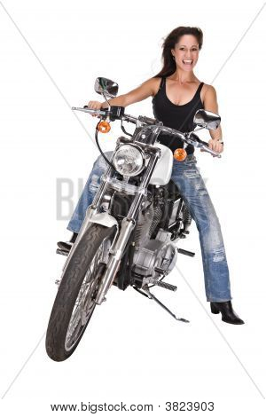 Isolated Woman On Motorbike