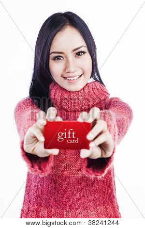 Excited Woman Showing Gift Card