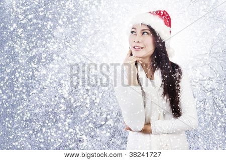 Thoughtful Christmas Woman