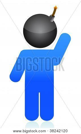 Bomb Head Illustration Icon