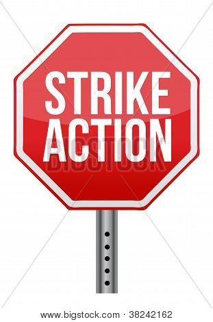 Strike Action Illustration Sign