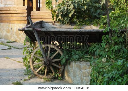 Old Traditional Ukrainian Telega In Landscape Design