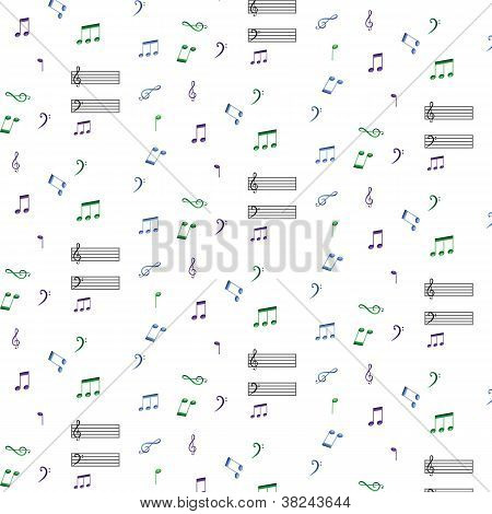 Blue Green Purple Musical Notes