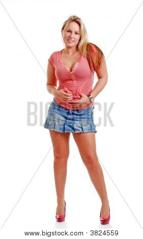 Sexy Young Woman Wearing A Short Jean Skirt