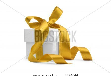 Present Box With Yellow Ribbon