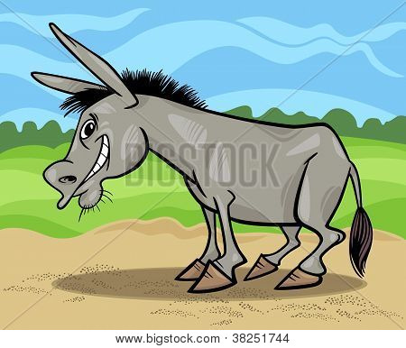 Funny Gray Donkey Cartoon Illustration