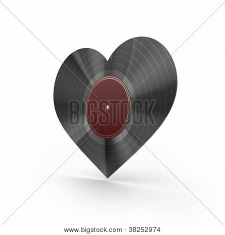 Black vinyl heart isolated