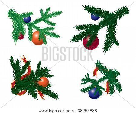 Conjunto de ramas de abeto con adornos