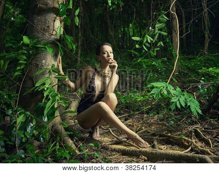 Glamorous Lady In A Tropical Forest