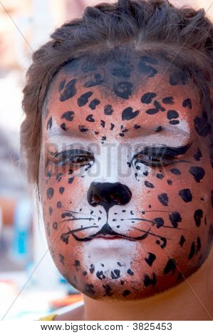 Cute Girl Kid Face With Painted Panther Color Mask