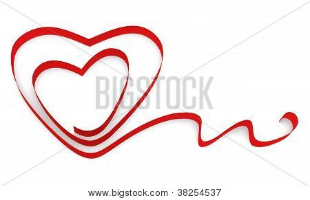 Ribbon Twisted In The Shape Of Two Hearts
