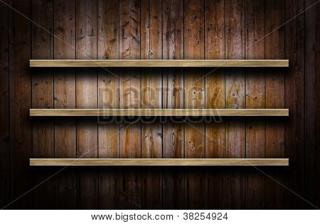 Wooden Wall With Shelves