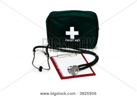 First Aid Kit, Stethoscope And Pad Isolated On White