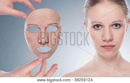 Concept Skincare With  Mask. Skin Of Beauty Young Woman Before And After The Procedure