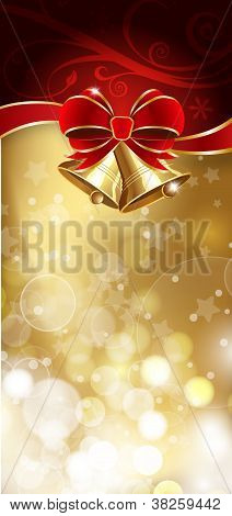 Jingle Bells With Red Bow On A Shines Background