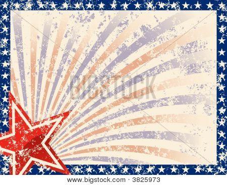 Quadro patriótico com estrelas e Grunge