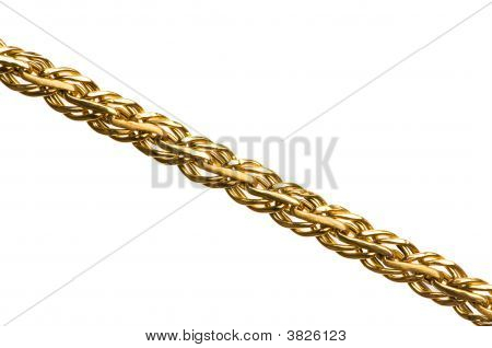 Golden Chain  Isolated On The White Background