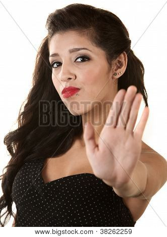 Woman Gesturing To Stop
