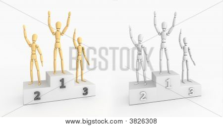 Victory Podium - Waving Winners