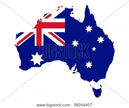 Map And Flag Of Australia