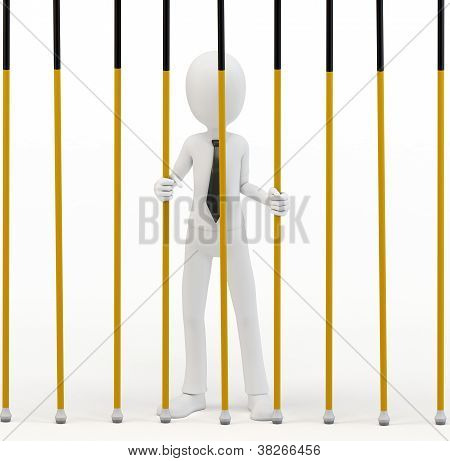 3D Man Businessman Behind Bars