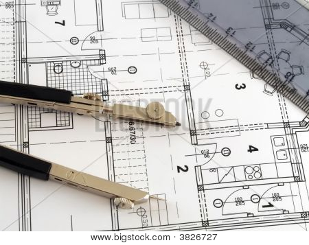 Divider And Ruler On Architectural Plan
