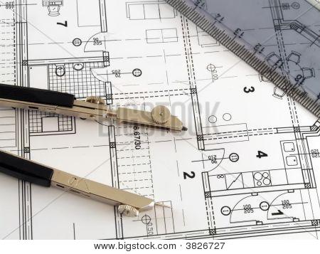 Régua no plano arquitectónico e divisor