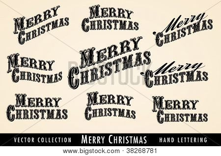 Selection 0f Vintage Merry Christmas Lettering